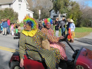 There were clowns on carts...