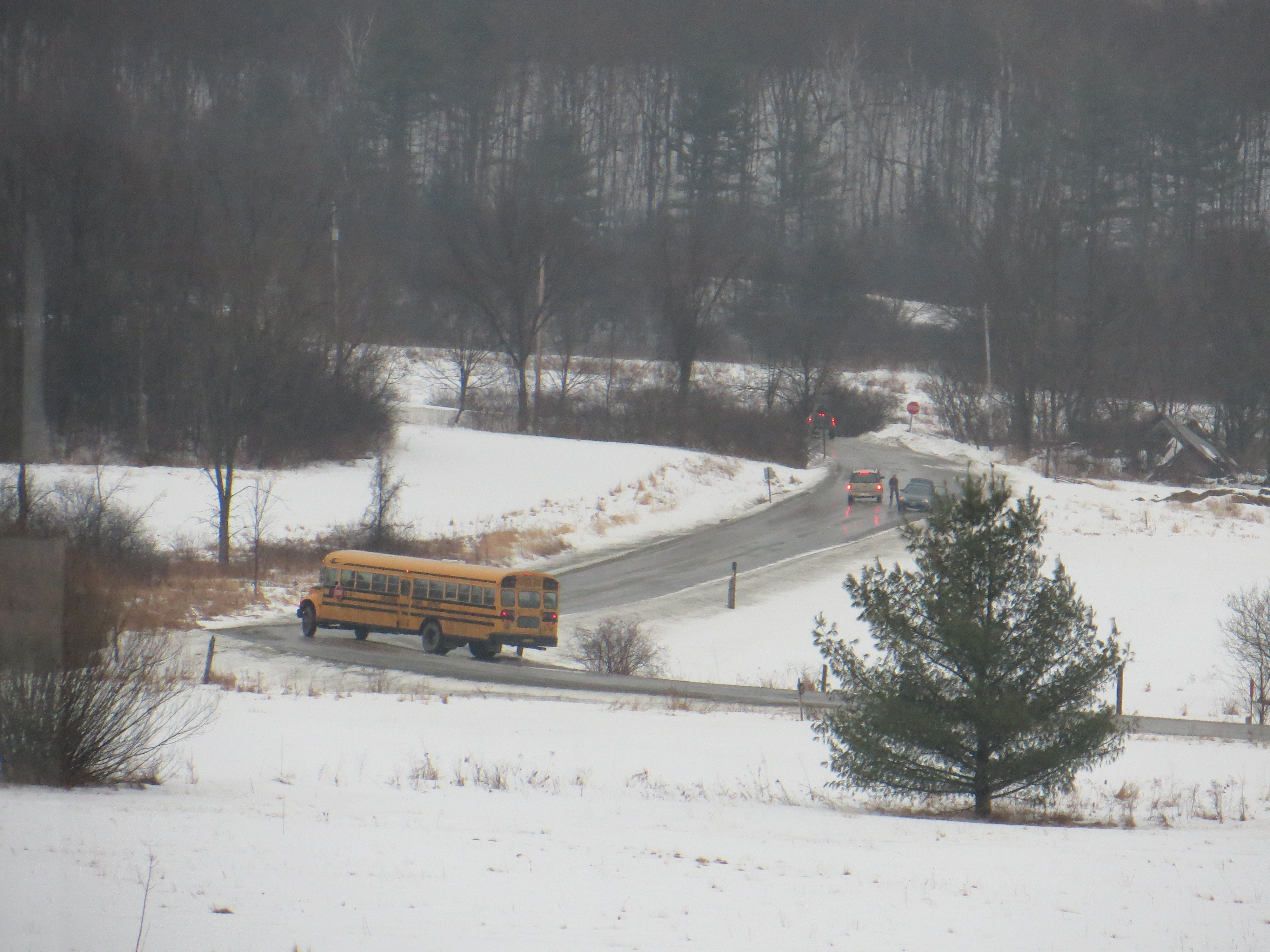 Bus on the Icy Road