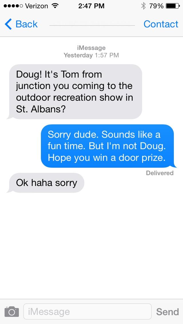 Wrong Address Text Message