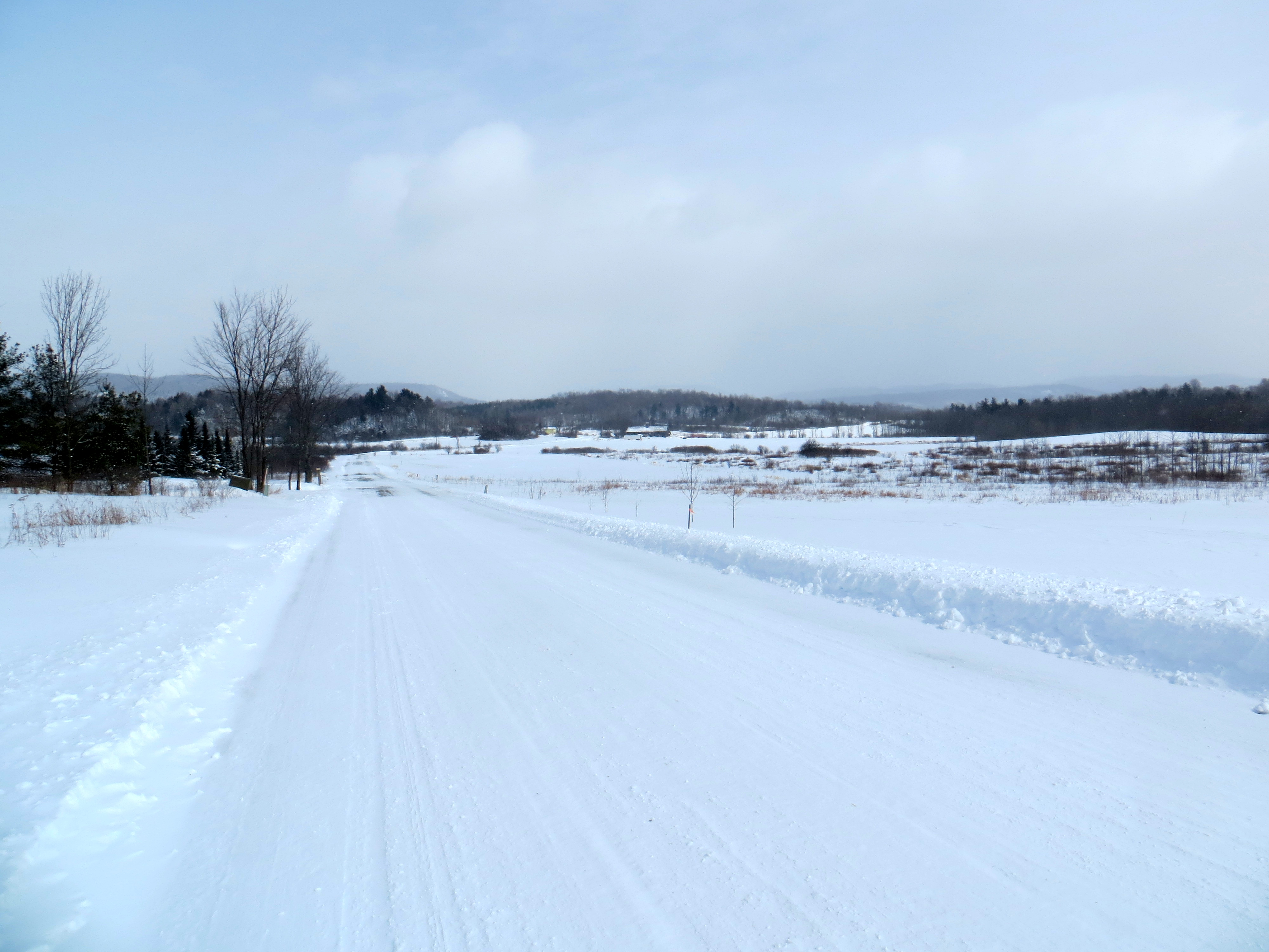 The town road crew got the road passable, but wind kept the drifts coming