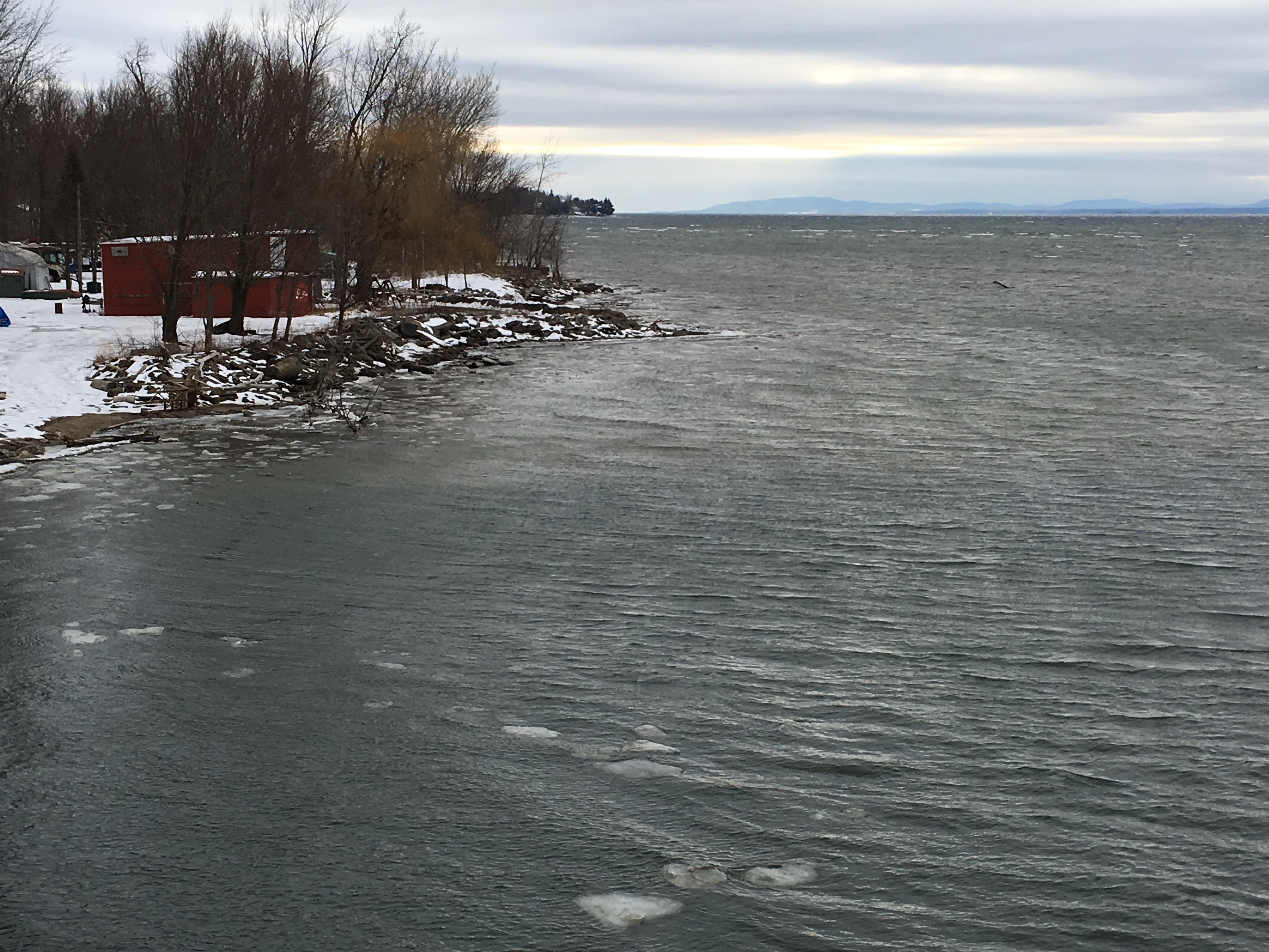 Winooski River flowing into Lake Champlain